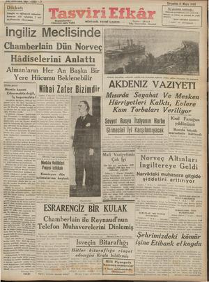 Tasviri Efkar Gazetesi 8 Mayıs 1940 kapağı