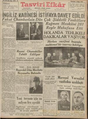 Tasviri Efkar Gazetesi 9 Mayıs 1940 kapağı