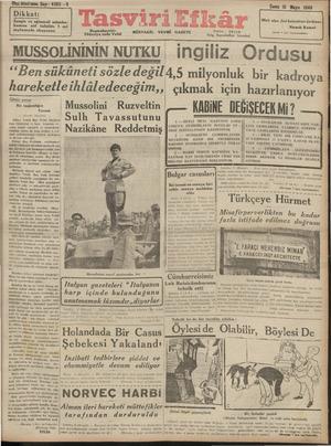Tasviri Efkar Gazetesi 10 Mayıs 1940 kapağı