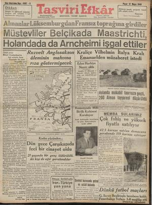 Tasviri Efkar Gazetesi 12 Mayıs 1940 kapağı