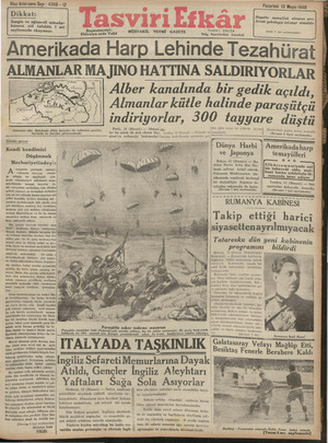 Tasviri Efkar Gazetesi 13 Mayıs 1940 kapağı