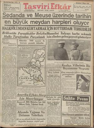 Tasviri Efkar Gazetesi 15 Mayıs 1940 kapağı