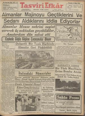Tasviri Efkar Gazetesi 16 Mayıs 1940 kapağı