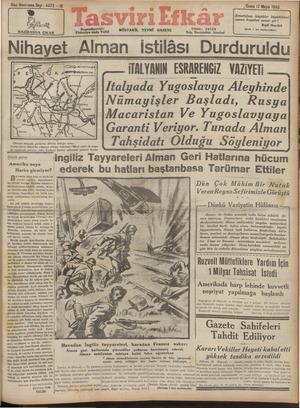 Tasviri Efkar Gazetesi 17 Mayıs 1940 kapağı
