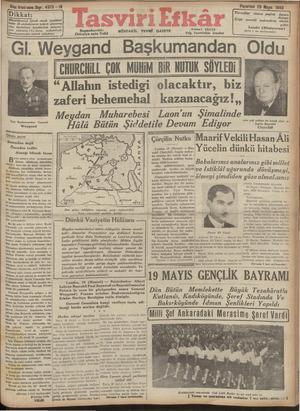 Tasviri Efkar Gazetesi 20 Mayıs 1940 kapağı