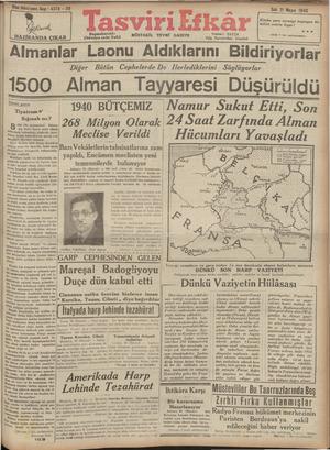 Tasviri Efkar Gazetesi 21 Mayıs 1940 kapağı