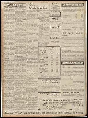 Sahife : 6 z ——— TASVİRİ EFKÂR SPOR RADYO PROGRAMI > a Pasertidi 8 Temmuz 1940 ——7 Raşit Rıza İstanbul Yüzme Şampiyonası ;