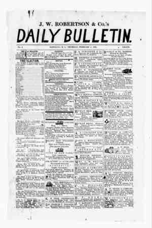 The Daily Bulletin Gazetesi 2 Şubat 1882 kapağı