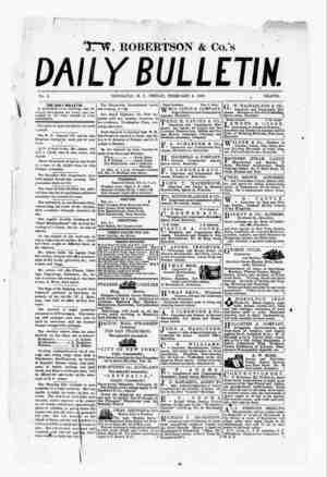 The Daily Bulletin Gazetesi 3 Şubat 1882 kapağı