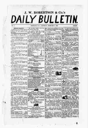 The Daily Bulletin Gazetesi 4 Şubat 1882 kapağı