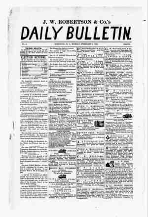 The Daily Bulletin Gazetesi 6 Şubat 1882 kapağı