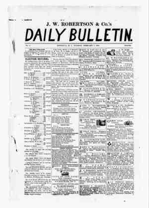 The Daily Bulletin Gazetesi 7 Şubat 1882 kapağı