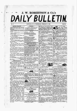The Daily Bulletin Gazetesi 8 Şubat 1882 kapağı