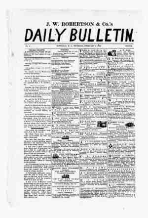 The Daily Bulletin Gazetesi 9 Şubat 1882 kapağı