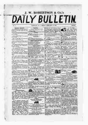 The Daily Bulletin Gazetesi 10 Şubat 1882 kapağı