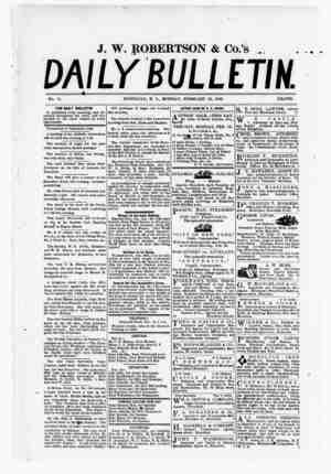 The Daily Bulletin Gazetesi 13 Şubat 1882 kapağı