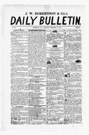 The Daily Bulletin Gazetesi 14 Şubat 1882 kapağı