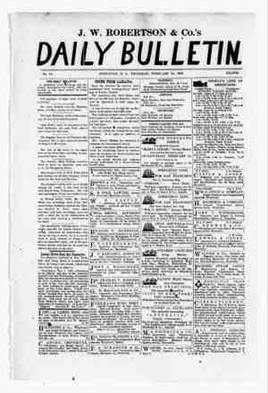 The Daily Bulletin Gazetesi 16 Şubat 1882 kapağı