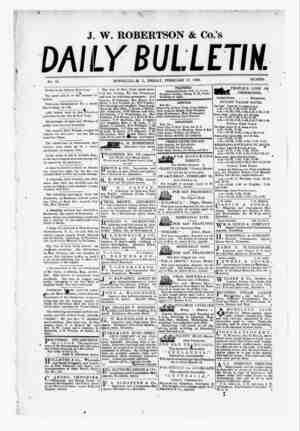 The Daily Bulletin Gazetesi 17 Şubat 1882 kapağı