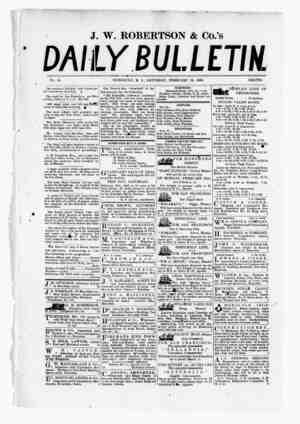 The Daily Bulletin Gazetesi 18 Şubat 1882 kapağı
