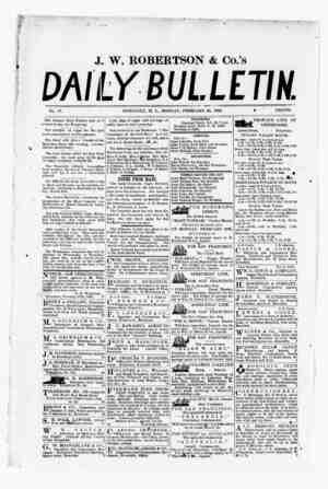 The Daily Bulletin Gazetesi 20 Şubat 1882 kapağı