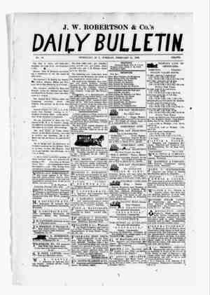 The Daily Bulletin Gazetesi 21 Şubat 1882 kapağı