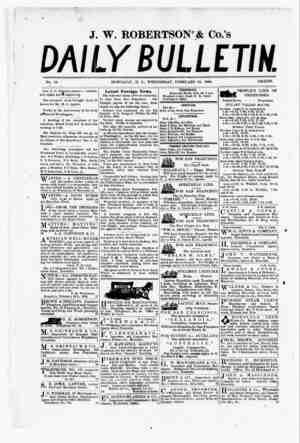 The Daily Bulletin Gazetesi 22 Şubat 1882 kapağı