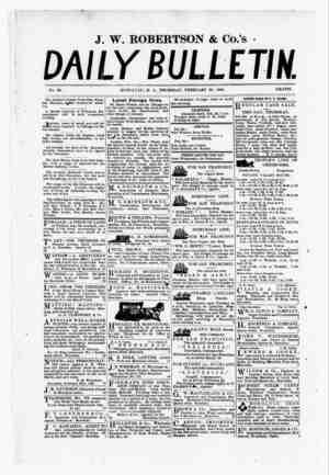 The Daily Bulletin Gazetesi 23 Şubat 1882 kapağı
