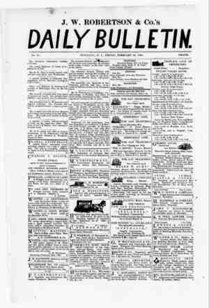 The Daily Bulletin Gazetesi 24 Şubat 1882 kapağı