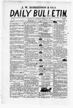 The Daily Bulletin Gazetesi 25 Şubat 1882 kapağı