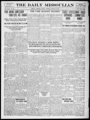 The Daily Missoulian Gazetesi 12 Ocak 1909 kapağı