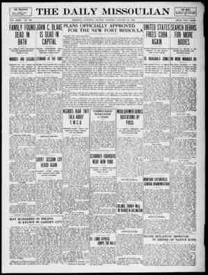 The Daily Missoulian Gazetesi 18 Ocak 1909 kapağı