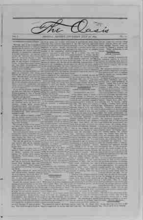The Oasis Gazetesi 20 Temmuz 1893 kapağı