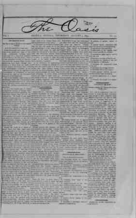 The Oasis Gazetesi 3 Ağustos 1893 kapağı