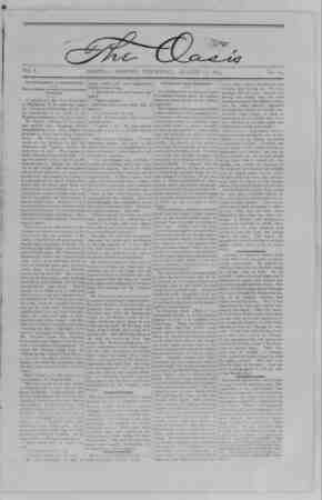The Oasis Gazetesi 10 Ağustos 1893 kapağı