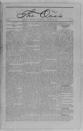 The Oasis Gazetesi 24 Ağustos 1893 kapağı