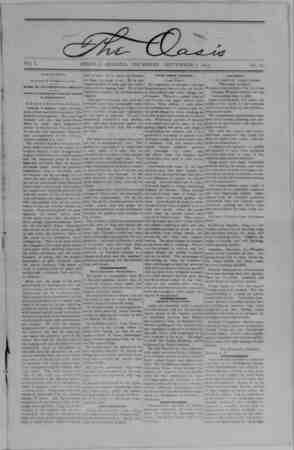 The Oasis Gazetesi 7 Eylül 1893 kapağı
