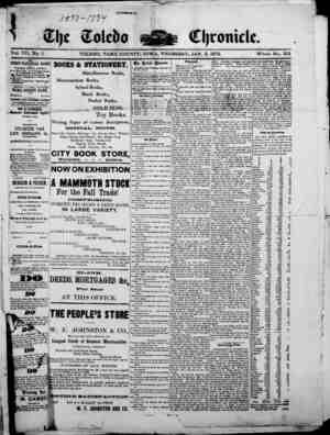 The Toledo chronicle Gazetesi 2 Ocak 1873 kapağı