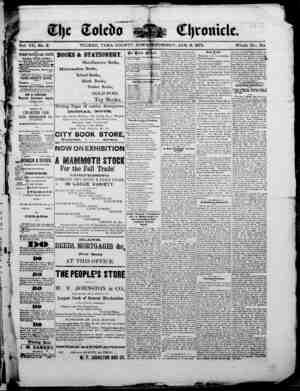 The Toledo chronicle Gazetesi 9 Ocak 1873 kapağı