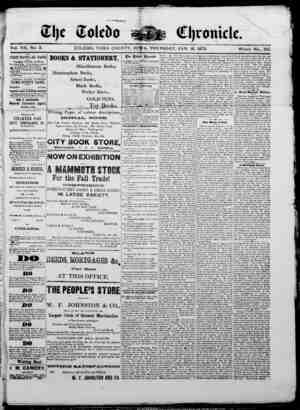 The Toledo chronicle Gazetesi 16 Ocak 1873 kapağı
