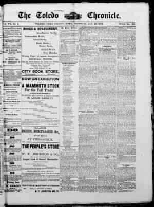 The Toledo chronicle Gazetesi 23 Ocak 1873 kapağı