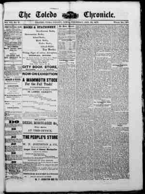The Toledo chronicle Gazetesi 30 Ocak 1873 kapağı