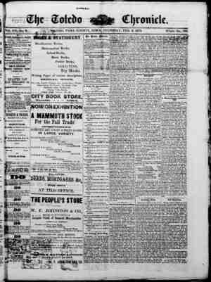 The Toledo chronicle Gazetesi 6 Şubat 1873 kapağı