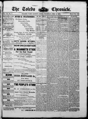 The Toledo chronicle Gazetesi 13 Şubat 1873 kapağı