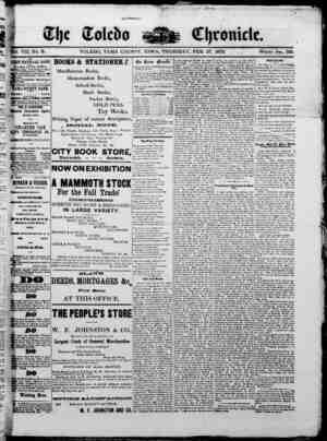 The Toledo chronicle Gazetesi 27 Şubat 1873 kapağı