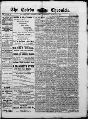 The Toledo chronicle Gazetesi 13 Mart 1873 kapağı