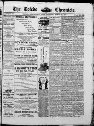 The Toledo chronicle Gazetesi 20 Mart 1873 kapağı