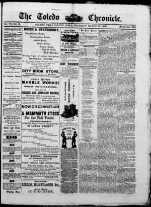 The Toledo chronicle Gazetesi 27 Mart 1873 kapağı