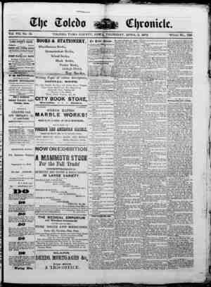 The Toledo chronicle Gazetesi 3 Nisan 1873 kapağı