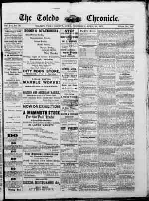 The Toledo chronicle Gazetesi 10 Nisan 1873 kapağı